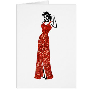 red sequin vintage pin up greeting card