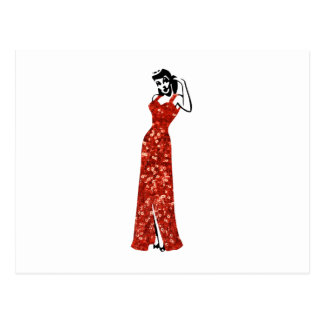 red sequin vintage pin up postcard