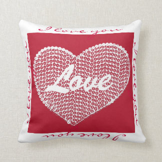 Red sequined heart Ilove you toss pillow Cushions