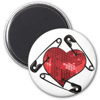 red sequins safety pin magnet
