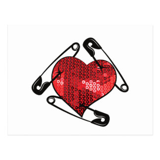 red sequins safety pin postcard