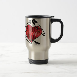 red sequins safety pin travel mug