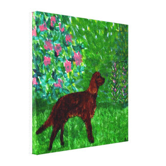 Red Setter in a Garden Mixed Media Dog Art Canvas Print