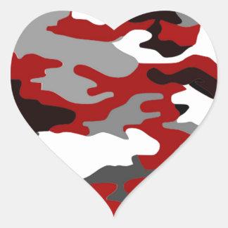 Red Shadows Camo Heart Sticker