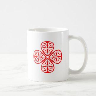 red shamrock celtic knot mugs