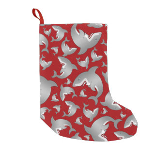 Red shark pattern small christmas stocking