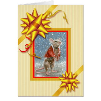 Red Shawl Rat Christmas Card