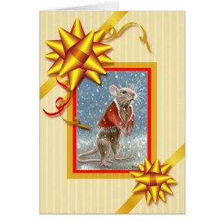Red Shawl Rat Christmas Card