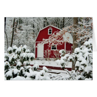 Red Shed During Winter Card