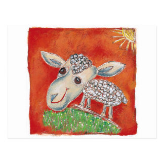 red sheep postcard
