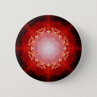 Red Shining Star Mandala 6 Cm Round Badge
