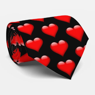Red Shiny Hearts Valentine  Necktie