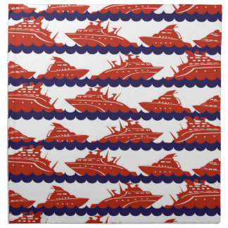 Red Ships on Nautical Blue Waves Cloth Napkins