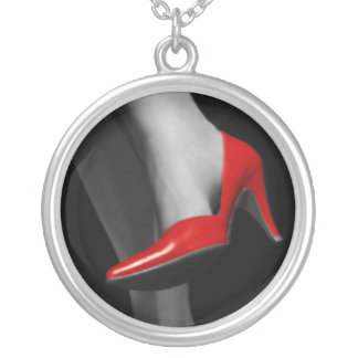 Red Shoe Silver Plated Necklace