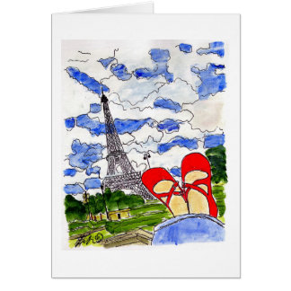 Red Shoes Eiffel Card