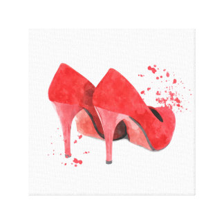 Red shoes fashion trendy glamour canvas print