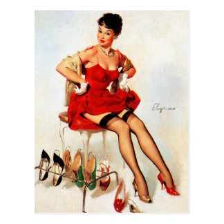 Red Shoes Pin Up Postcard