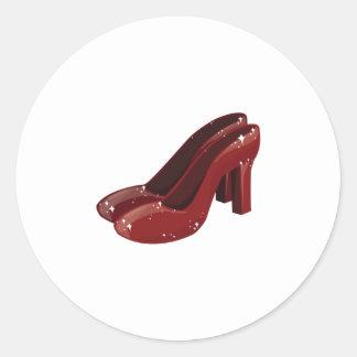 Red Shoes Round Sticker