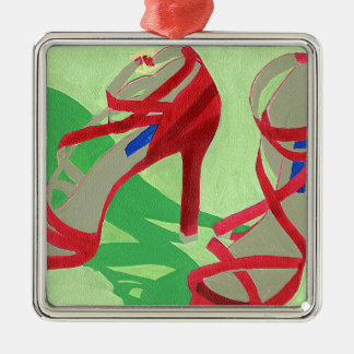Red Shoes Silver-Colored Square Decoration