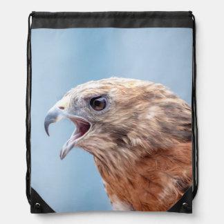 Red Shouldered Hawk Drawstring Bag
