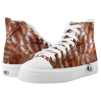 Red Shouldered Hawk Feathered High Tops Printed Shoes