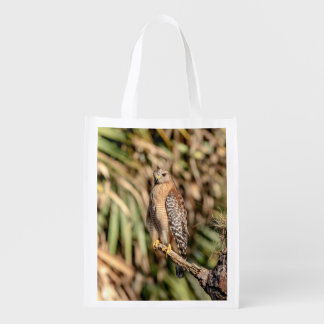 Red Shouldered Hawk in a tree Reusable Grocery Bag