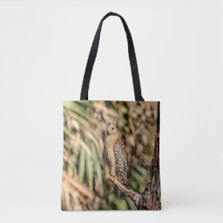 Red Shouldered Hawk in a tree Tote Bag