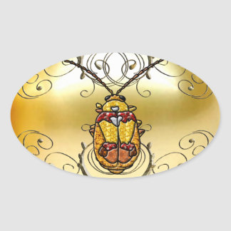 Red Shouldered Leaf Beetle Oval Sticker
