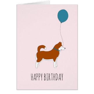 Red Siberian Husky Birthday Card