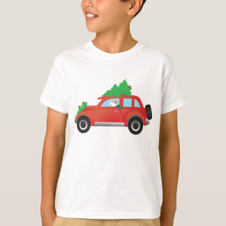 Red Siberian Husky Driving Car with Christmas Tree T-Shirt