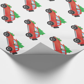 Red Siberian Husky Driving Car with Christmas Tree Wrapping Paper