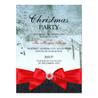 Red Silk Bow Snow Forest Christmas Holiday Invite