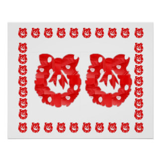 Red Silk Fabric Patch Wreath : ENJOY n share JOY Posters