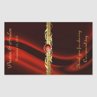 Red Silk Gold Scroll Wedding Wine Sticker