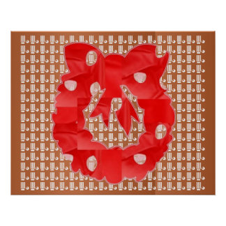 Red Silk Wreath on Golden Jewel Pattern Posters