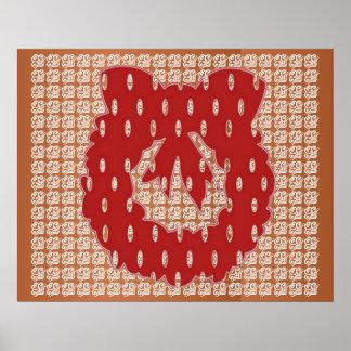Red Silk Wreath on Golden Jewel Pattern Poster