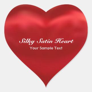 Red Silky Satin Heart Heart Sticker