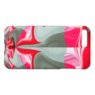 Red silver and white symmetrical theme glossy art iPhone 7 plus case