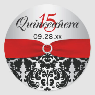 Red Silver Black Damask Quinceanera Sticker