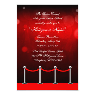 Red Silver Carpet Hollywood Prom Formal Invitation