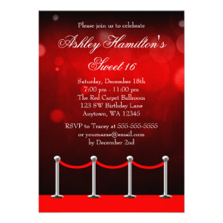 Red Silver Carpet Hollywood Sweet 16 Birthday Personalized Announcements