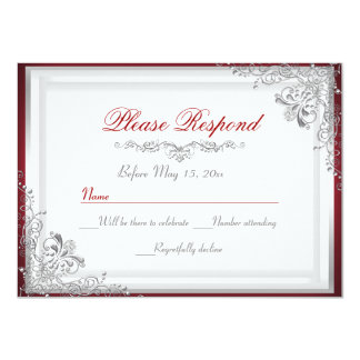 Red & Silver Damask RSVP Reply Card