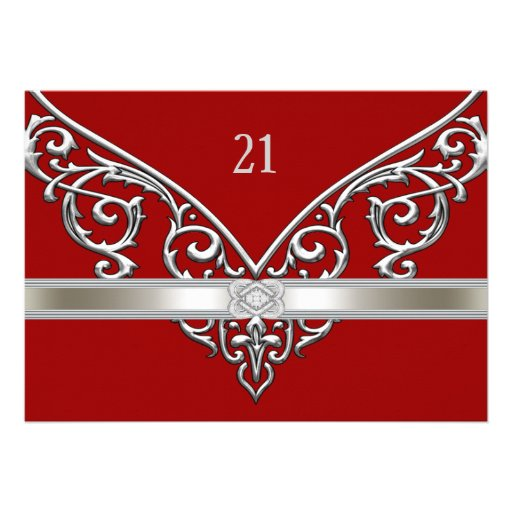 Red Silver Diamond Swirls 21st Birthday Party Announcement