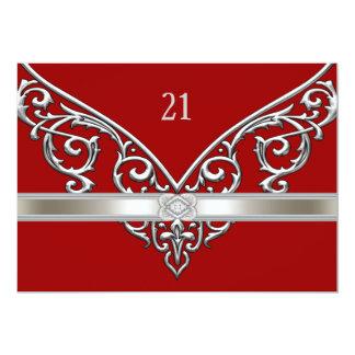 Red Silver Diamond Swirls 21st Birthday Party 13 Cm X 18 Cm Invitation Card