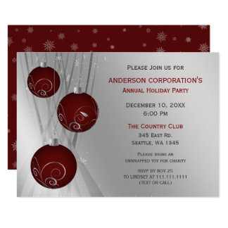 Red Silver Festive Corporate holiday party Card
