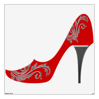 Red silver girly fashion shoe
