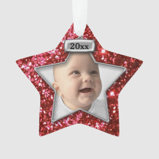 Red/Silver Glitter Photo Template Ornament
