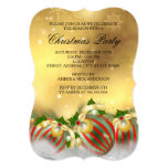 Red Silver Gold Holly Baubles Christmas Party 13 Cm X 18 Cm Invitation Card
