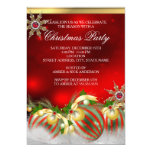 Red Silver Gold Holly Baubles Christmas Party new 13 Cm X 18 Cm Invitation Card