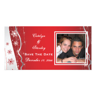 Red, silver grey snowflake wedding Save the Date Custom Photo Card